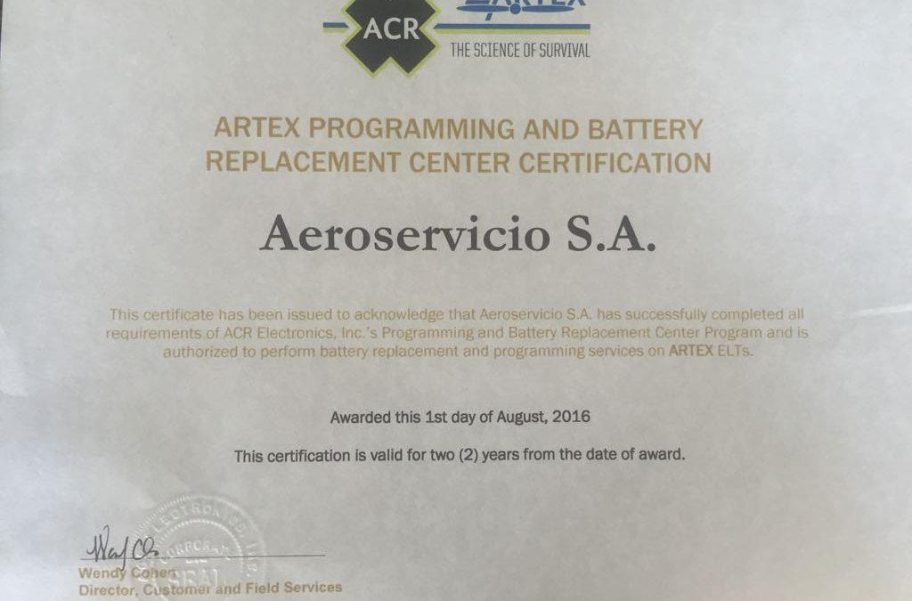 Aeroservicio es certificado por ARC Artex para instalación y Codificación de ELT 1000